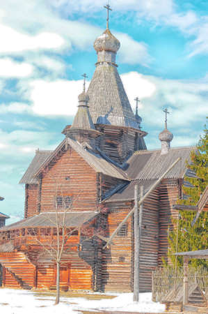 Wooden domes on Church in Velikiy Novgorod, Russia Stock Photo - 17917719