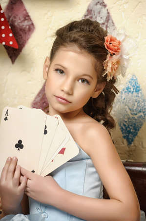 blondie: Litle young girl circus with playing cards