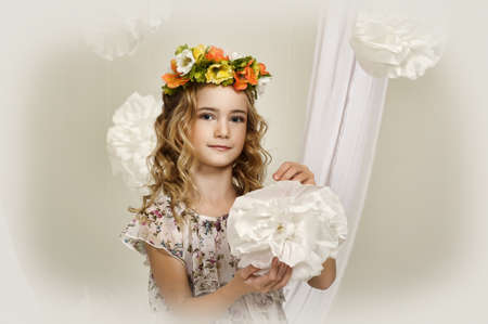 portrait of a girl with a wreath of flowers studio Stock Photo - 17532622