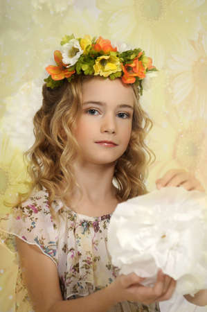 portrait of a girl with a wreath of flowers studio Stock Photo - 17532564