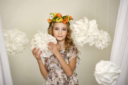 portrait of a girl with a wreath of flowers studio Stock Photo - 17532563