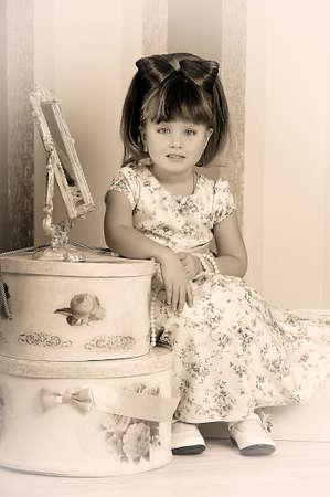 Little fashionista in retro style Stock Photo - 19026993