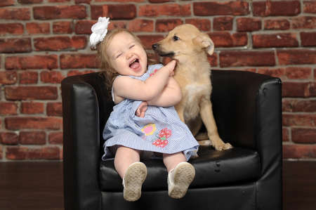 Baby and puppy photo