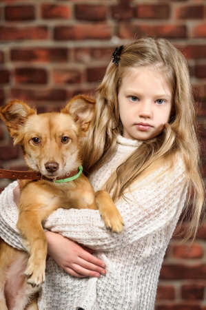 girl with red puppy  Stock Photo - 17787576