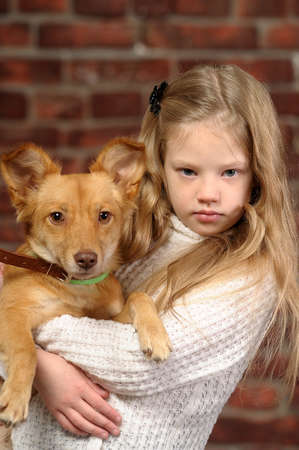 girl with red puppy Stock Photo - 17787544