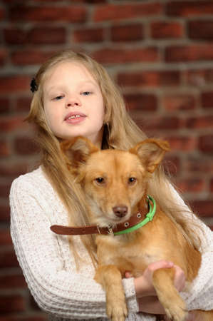 girl with red puppy Stock Photo - 17787575