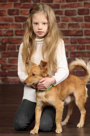 girl with red puppy  photo