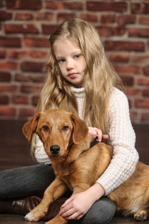 slobber: girl with red puppy