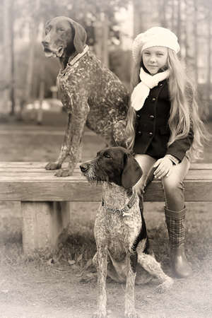 girl in the park, and two dogs photo