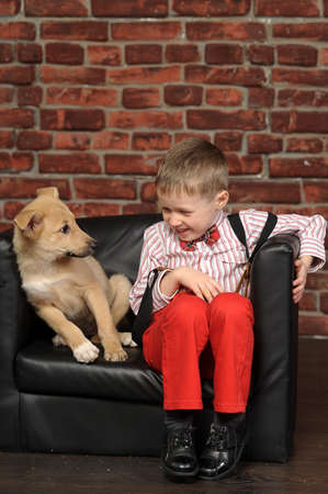 boy with a puppy Stock Photo