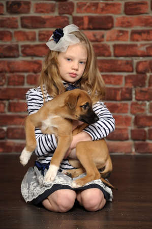girl with a puppy photo