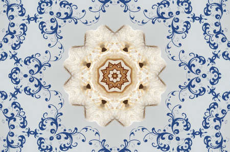 light brown with blue ornament photo