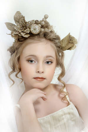 Portrait of a girl with a golden wreath on head Stock Photo - 17862013