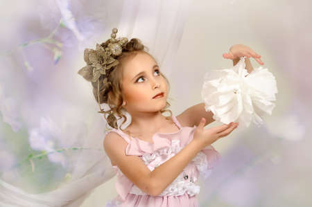 flirting little girl pink dress Stock Photo - 18592439