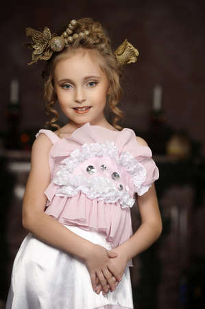 flirting little girl pink dress Stock Photo - 18592449