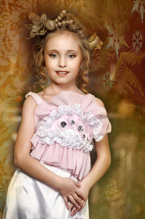 flirting little girl pink dress Stock Photo - 18592450