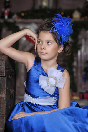 girl in a blue dress photo