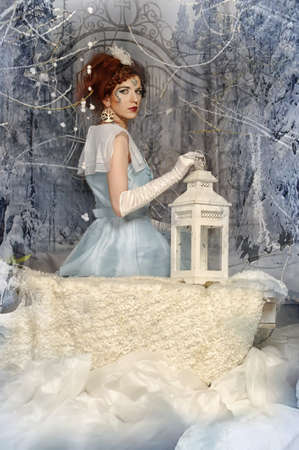 Portrait of a woman in the role of the Snow Queen photo