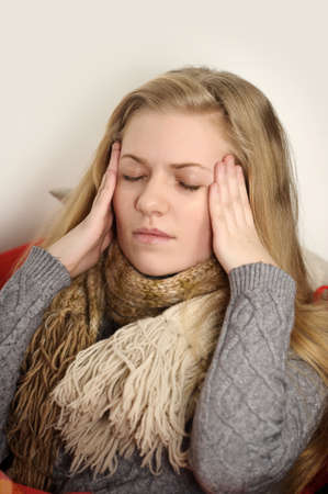 girl a cold, headache and temperature Stock Photo - 19349194