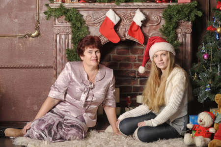Christmas photo of mother and daughter photo