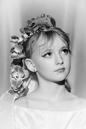 portrait of girl with orchids in her hair and a crown Stock Photo - 18850506