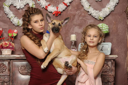 two sisters with a puppy Stock Photo - 17935853