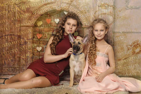 sleeping bag: two sisters with a puppy