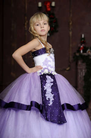 elegant girl in lilac dress photo