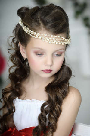 hairdress: portrait of a girl with a Victorian style Stock Photo