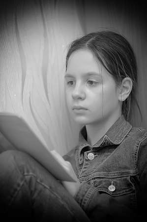 girl reading book Stock Photo - 18160400