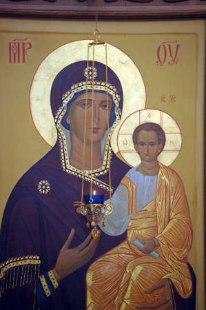saintliness: icon of the Mother of God Stock Photo