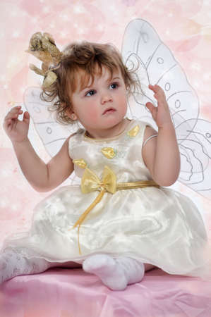 Little girl with butterfly s wings Stock Photo - 18297216