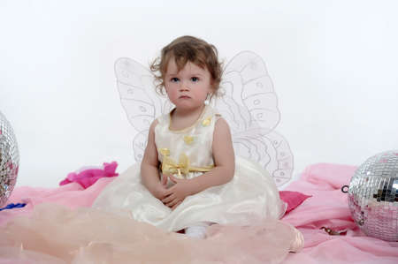 Little girl with butterfly s wings Stock Photo - 18296824