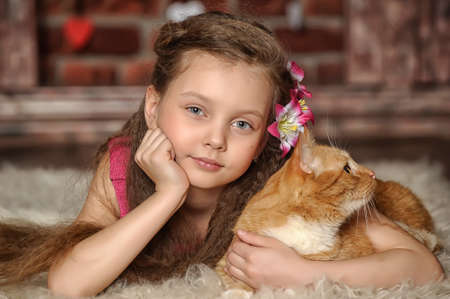 girl with a red cat photo