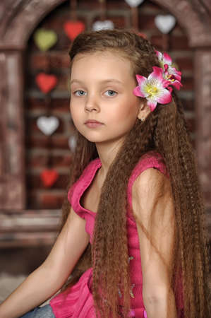 little girl with pink flowers in her hair photo