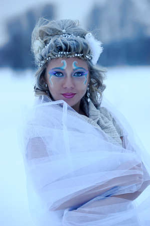girl on a winter background photo