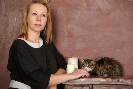 woman with a kitten Stock Photo - 18160714