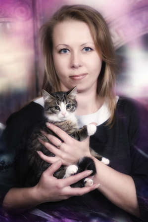 woman with a kitten photo