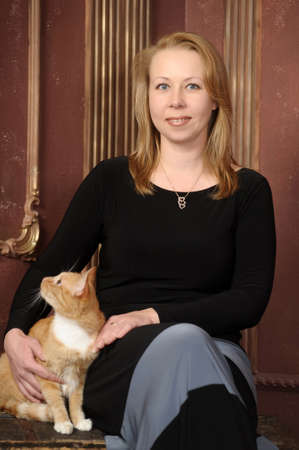 portrait of a woman with a cat photo