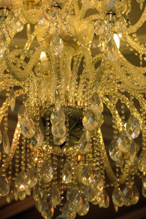 Beautiful yellow chandelier photo