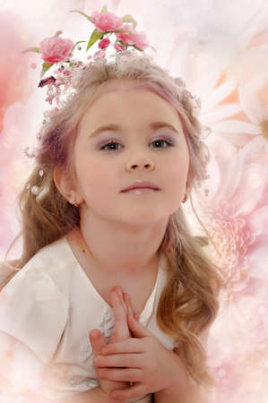 child girl nude: young princess wearing a crown of flowers