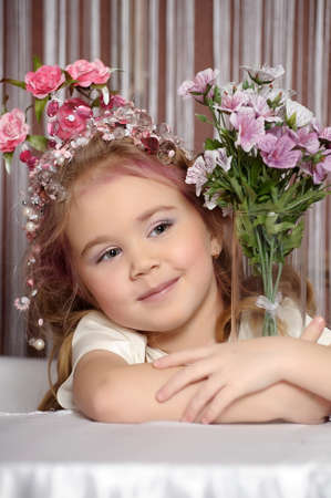 little princess with flower crown on head Stock Photo - 19109390