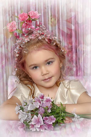 little princess with flower crown on head Stock Photo - 19123004