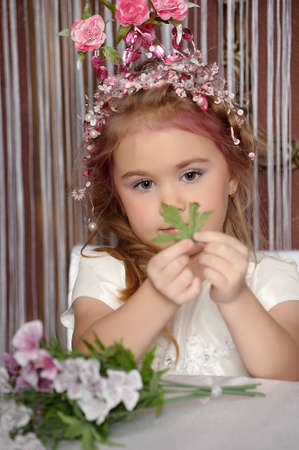 little princess with flower crown on head Stock Photo - 19122382