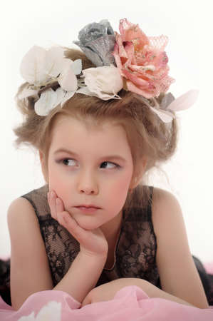 Girl with flowers on her head photo