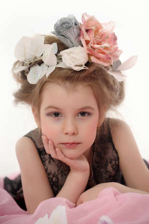 Girl with flowers on her head Stock Photo - 19283231