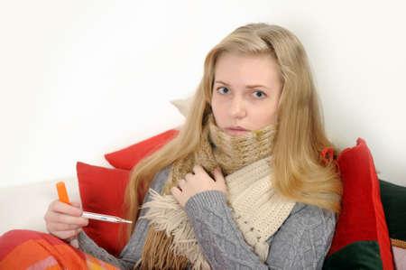 caucasian fever: sick girl