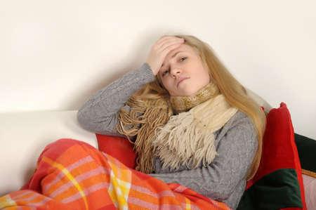 ragazza malata: malata Archivio Fotografico