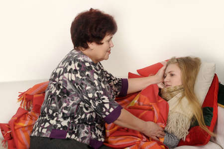 blond 16 year old:  Portrait of a mother with a sick daughter