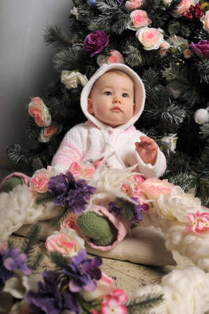 Baby and Christmas Tree photo